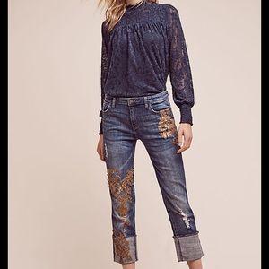 Pilcro Hyphen Appliqué Mid-Rise Jeans
